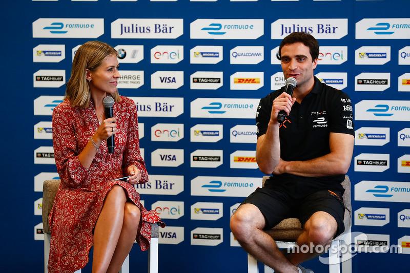 Nicki Shields, Formel-E-Moderatorin; Jérôme d'Ambrosio, Dragon Racing