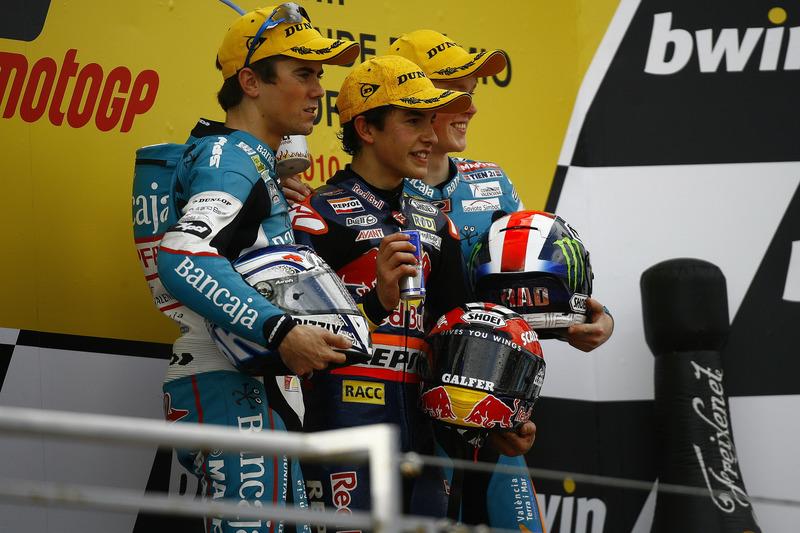 Podio: 1º Marc Márquez, 2º Nico Terol, 3º Bradley Smith