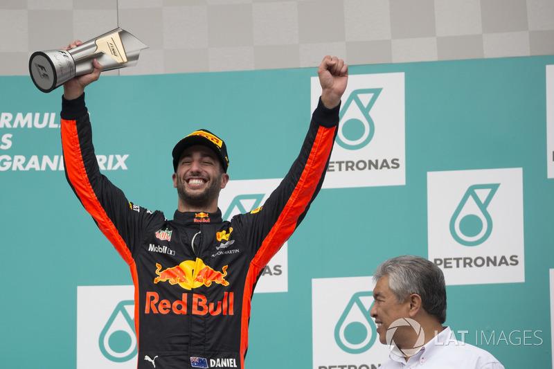 Podium: Daniel Ricciardo, Red Bull Racing celebrates