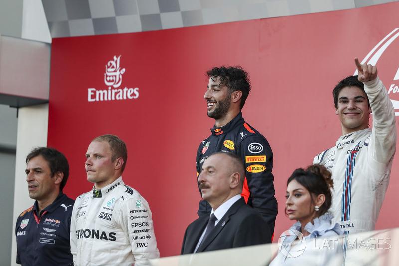 Pierre Wache, Red Bull Racing, Valtteri Bottas, Mercedes AMG F1, Daniel Ricciardo, Red Bull Racing y Lance Stroll, Williams