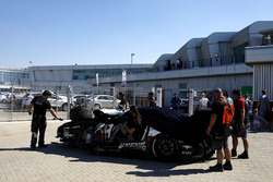 The crashed car of #1 Hofor-Racing Mercedes-AMG GT3: Michael Kroll, Chantal Kroll, Roland Eggimann,