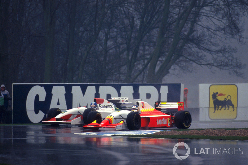Poignant moment at Donington in 1993, as Alboreto in the hopeless Lola-Ferrari duels with his replacement at Arrows, Derek Warwick.