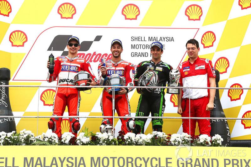 Podium: race winner Andrea Dovizioso, Ducati Team, second place Jorge Lorenzo, Ducati Team, third place Johann Zarco, Monster Yamaha Tech 3