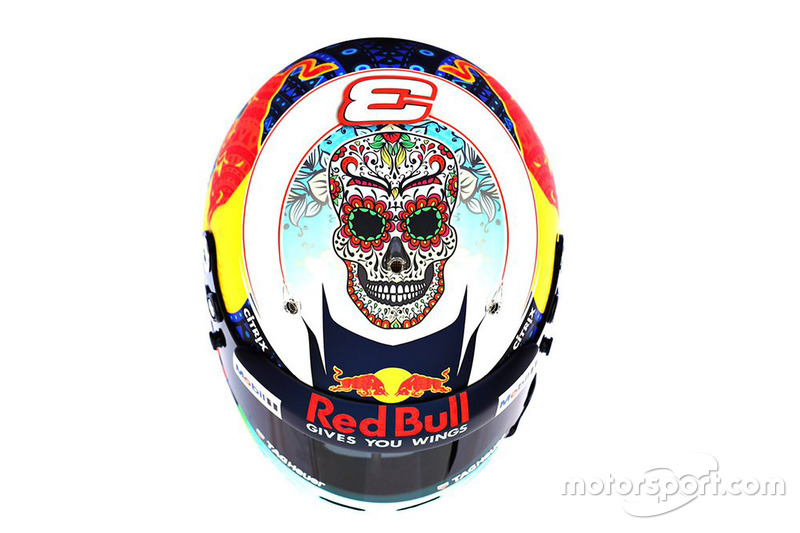 Diseño de casco especial de Daniel Ricciardo, Red Bull Racing, para el GP de México.