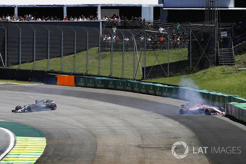 O francês da Force India se envolveu em um toque com Romain Grosjean, da Haas, ainda na primeira volta.