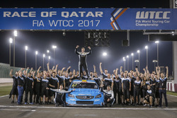 World champion Thed Björk, Polestar Cyan Racing, Volvo S60 Polestar TC1 with the team