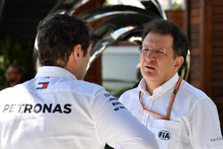 Toto Wolff, Mercedes AMG F1 Director of Motorsport and Nicholas Tombazis, FIA Head of Single-Seater Technical Matters