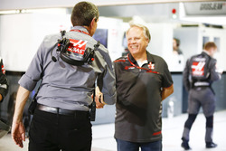 Guenther Steiner, Team Principal, Haas F1, and Gene Haas, Team Owner, Haas F1, celebrate a good result