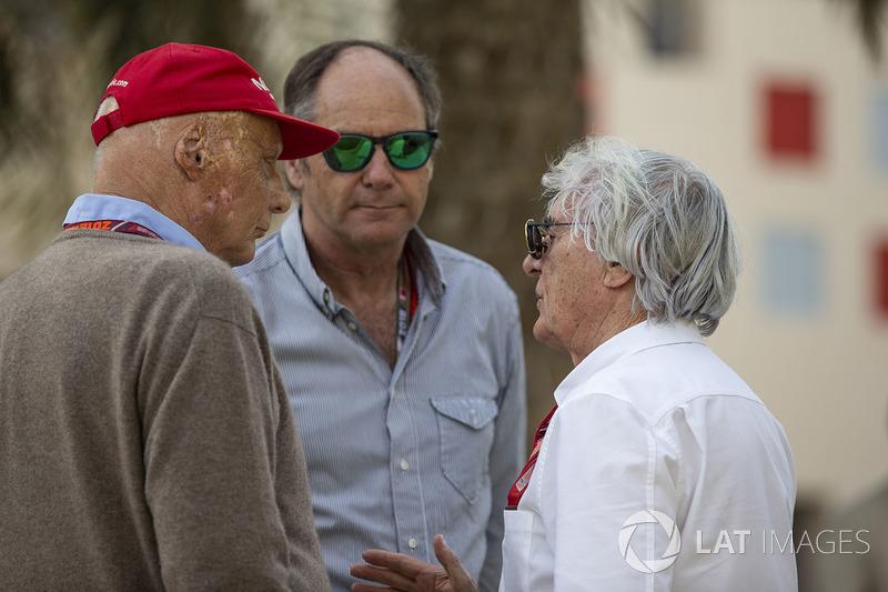 Невиконавчий директор Mercedes AMG Нікі Лауда, Герхард Бергер, Берні Екклстоун