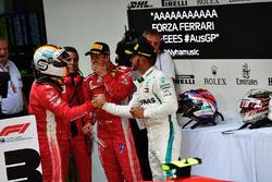 Sebastian Vettel, Ferrari and Lewis Hamilton, Mercedes-AMG F1 celebrate in parc ferme
