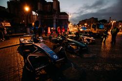 Cars of Sébastien Buemi, Renault e.Dams, Nelson Piquet Jr., Jaguar Racing, Lucas di Grassi, Audi Sport ABT Schaeffler
