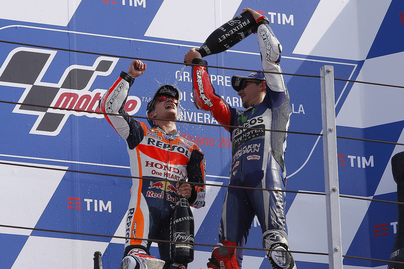 Ganador, Dani Pedrosa, Repsol Honda Team, tercero Jorge Lorenzo, Yamaha Factory Racing