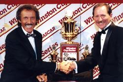 Richard Petty congratulates Dale Earnhard on his seventh championship