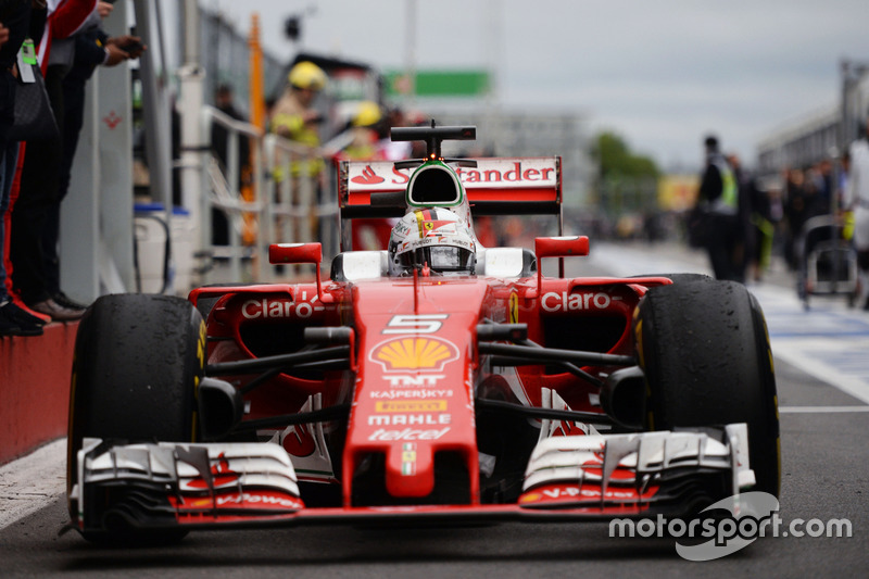 Sebastian Vettel, Ferrari SF16-H enters parc ferme