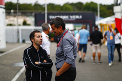 Nicolas Todt with Guenther Steiner, Team Principal, Haas F1 Team