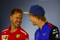 Sebastian Vettel, Ferrari, and Brendon Hartley, Toro Rosso, in the Press conference