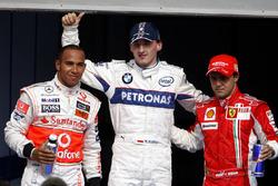 Robert Kubica, BMW Sauber celebra su primera pole con Lewis Hamilton, McLaren y Felipe Massa, Ferrar