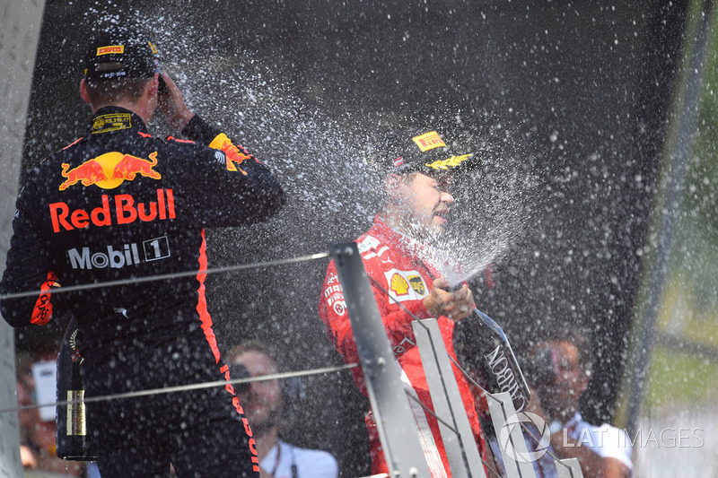 Max Verstappen, Red Bull Racing and Sebastian Vettel, Ferrari celebrate on the podium with the champagne