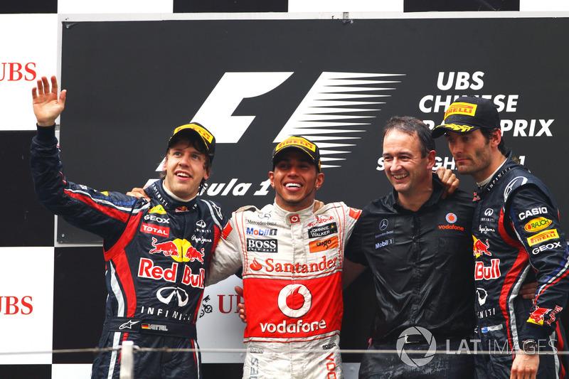2011. Подіум: 1. Льюіс Хемілтон, McLaren. 2. Себастьян Феттель, Red Bull. 3. Марк Веббер, Red Bull