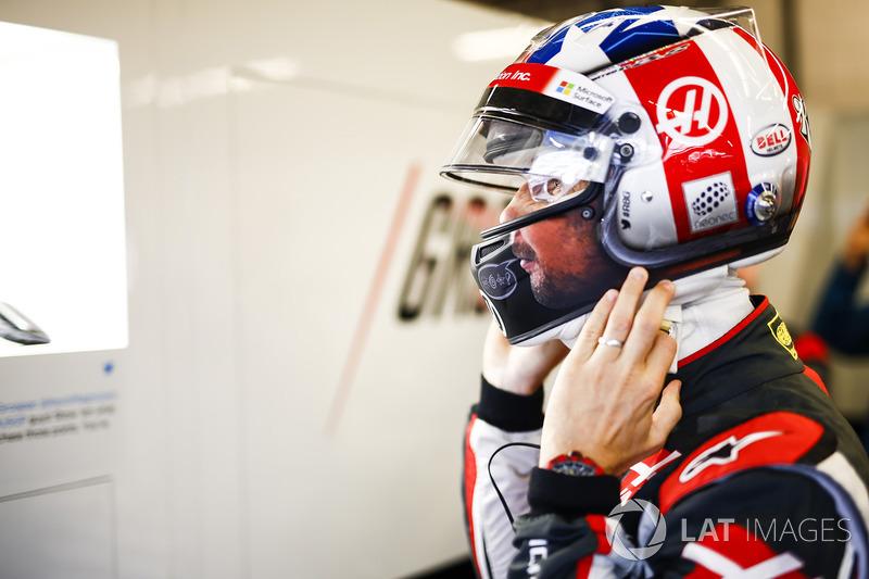 El casco de la edición de Estados Unidos de Romain Grosjean, Haas F1 Team