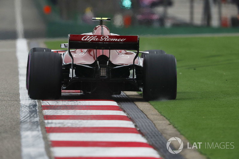 Charles Leclerc, Sauber C37 Ferrari, runs over a kerb