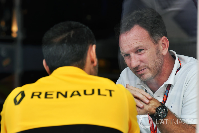 Christian Horner, Red Bull Racing Team Principal and Cyril Abiteboul, Renault Sport F1 Managing Director