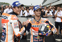 Race winner Marc Marquez, Repsol Honda Team, Second place Dani Pedrosa, Repsol Honda Team