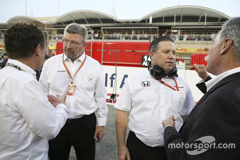 Ross Brawn, Managing Director of Motorsports, FOM, Zak Brown, Executive Director, McLaren Technology Group