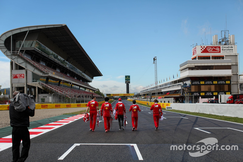 Sebastian Vettel, Ferrari walks the track