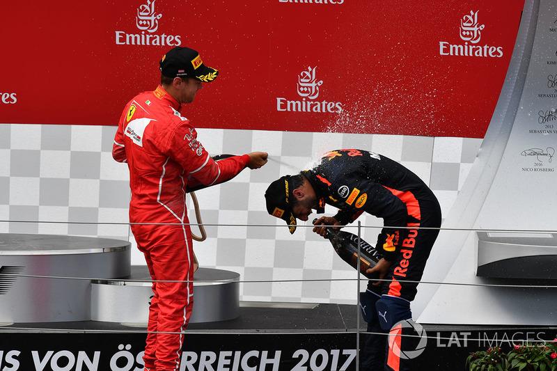 Podyum: 2. Sebastian Vettel, Ferrari, 3. Daniel Ricciardo, Red Bull Racing