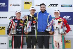Podium: winner Lando Norris, Carlin, second place Joel Eriksson, Motopark, third place Maximilian Günther, Prema Powerteam