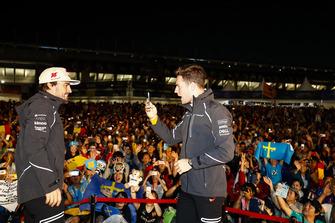 Fernando Alonso, McLaren, and Stoffel Vandoorne, McLaren, on stage