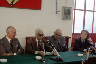 Fiorano 1975, Enzo Ferrari, Pietro Barilla during the presentation of the Ferrari 312 T2