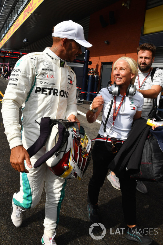 Lewis Hamilton, Mercedes AMG F1 celebrates in parc ferme with Angela Cullen, Trainer and PA at ...