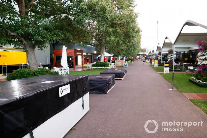 Renault packing crates in the paddock