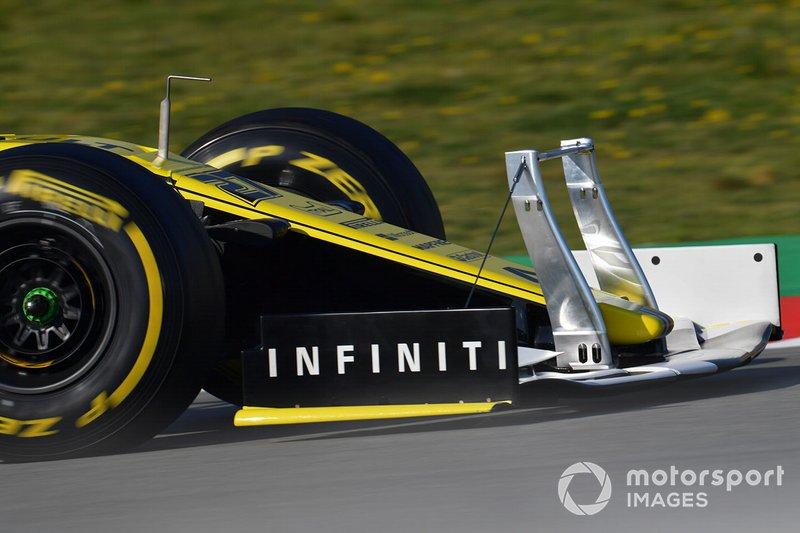 Nico Hulkenberg, Renault F1 Team R.S. 19, avec un système de mesure sur l'aileron avant