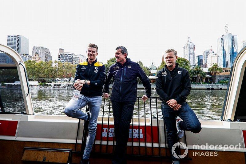 Nico Hulkenberg, Renault F1 Team, Guenther Steiner, Haas F1 en Kevin Magnussen, Haas F1 Team