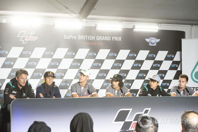Racing Team Director, Johan Stigefelt, Khairul Idham Pawi, Fabio Quartararo, Franco Morbidelli, Ayumu Sasaki and John McPhee
