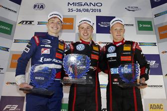 Rookie Podium: Winner Jüri Vips, Motopark Dallara F317 - Volkswagen, second place Robert Shwartzman, PREMA Theodore Racing Dallara F317 - Mercedes-Benz, third place Fabio Scherer, Motopark Dallara F317 - Volkswagen