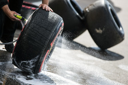 Pirelli tyres are washed