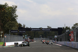 Lewis Hamilton, Mercedes AMG F1 W07 Hybrid, leads Nico Rosberg, Mercedes AMG F1 W07 Hybrid, and Max Verstappen, Red Bull Racing RB12, at the start of the race