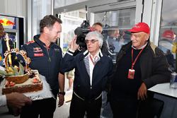 F1 supremo Bernie Ecclestone is presented with a birthday cake by Christian Horner, Red Bull Racing Team Principal, Niki Lauda, Mercedes GP non-executive chairman also attends