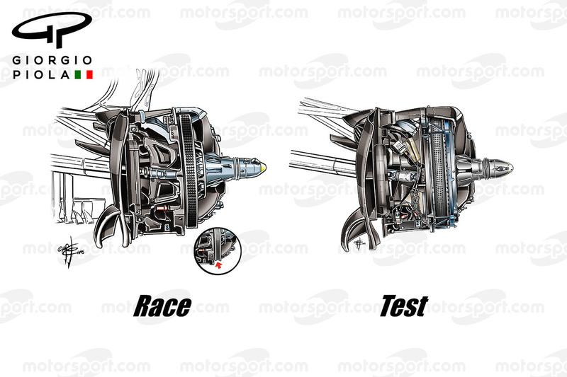 Comparaison des freins avant de la Mercedes W07, GP du Brésil
