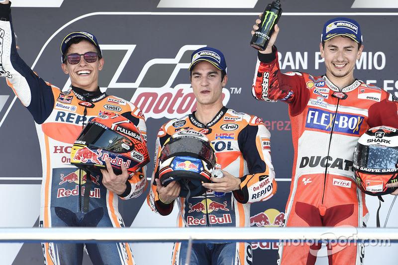 Podium: Ganador, Dani Pedrosa, Repsol Honda Team, segundo, Marc Marquez, Repsol Honda Team, tercero, Jorge Lorenzo, Ducati Team