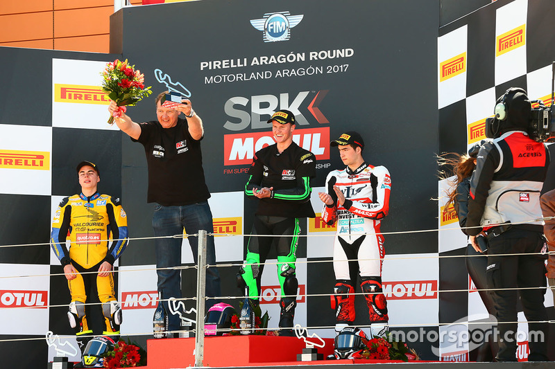Podium SSP300: race winner Scott Deroue, MTM HS Kawasaki, second place Daniel Valle, Halcourier Racing, third place Mika Perez, WILSport Racedays