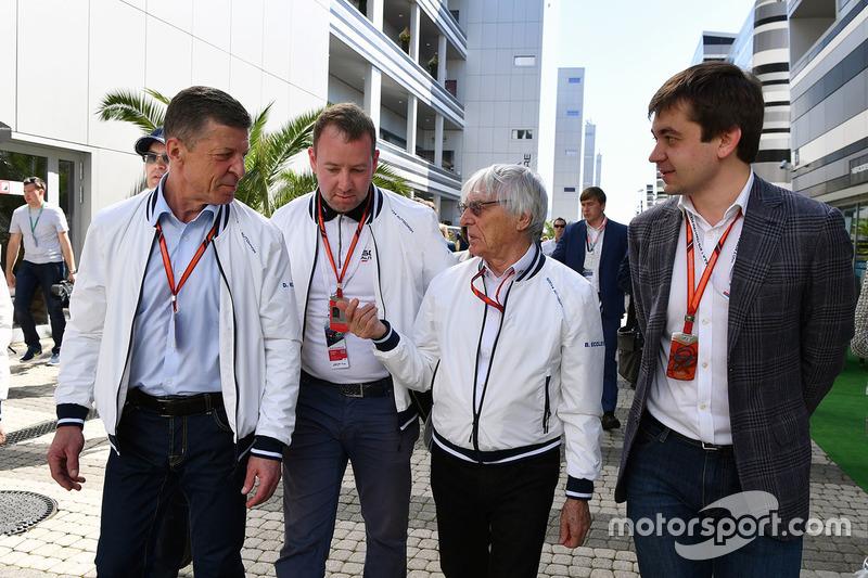 Dmitry Kozak, Deputy Prime Minister of the Russian Federation, Bernie Ecclestone, Sergey Vorobyev, Sochi Autodrom Deputy General Director