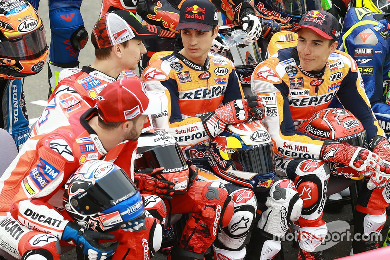 Andrea Dovizioso, Ducati Team; Jorge Lorenzo, Ducati Team; Dani Pedrosa, Repsol Honda Team; Marc Marquez, Repsol Honda Team