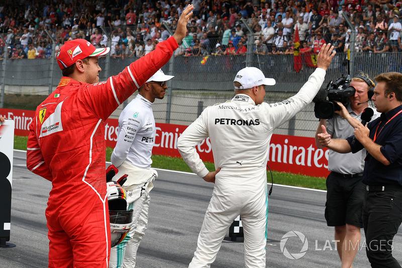 Sebastian Vettel, Ferrari, Lewis Hamilton, Mercedes AMG F1 ve Valtteri Bottas, Mercedes AMG F1 ve Davide Valsecchi, Sky Italia