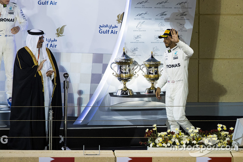Podium: second place Lewis Hamilton, Mercedes AMG F1