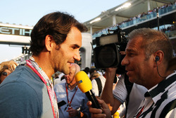 Roger Federer, Tennis Player with Kai Ebel, RTL TV Presenter on the grid